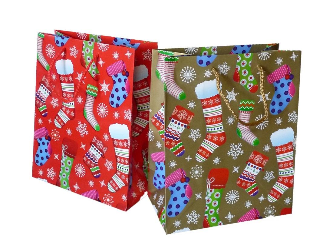 ... 24 Stück Geschenktüten Strumpf 18,4cm x 10cm x 22,8cm Weihnachten