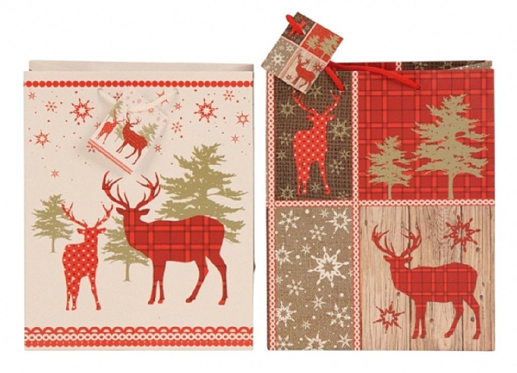 ... 24 Stück Geschenktüten Weihnachten Hirsch 2 Motive 18 x 10 x 23 cm