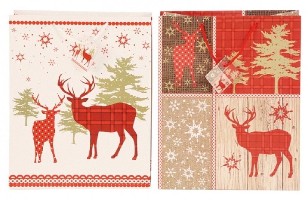 ... 12 Stück Geschenktüten Weihnachten Hirsch 2 Motive 26,7 x 14 x 33 cm