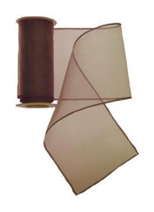 Tischband Organza Stoff 3m x 12 cm Farbe Braun Läufer (4,12€/qm) !