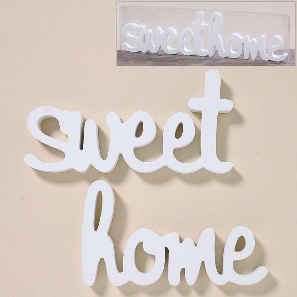 Wandobjekt Sweet Home Schriftzug 2 teilig in Weiss zum Hängen und ...