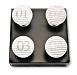 4 x Möbelgriff mit Zahl Möbelknopf Möbelknauf Porzellan weiß gestreift