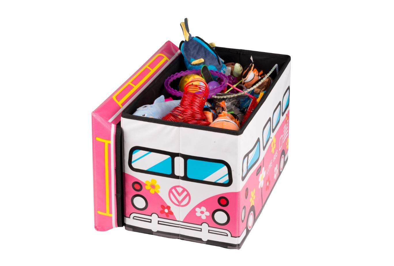 Aufbewahrungsbox Lovebus Bus 49 x 31 x 31cm Kunstleder Hocker