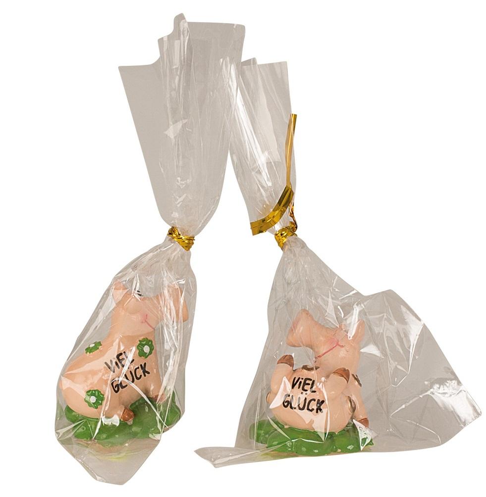 _ 24 x Glücksschwein Figur auf Kleeblatt mit Schriftzug VIEL GLÜCK