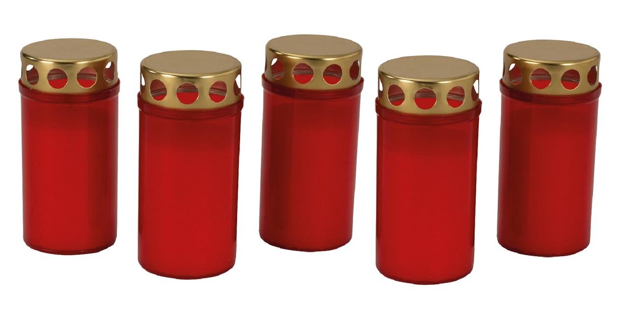 5 Stück Grablichter 12 cm Rot mit goldenem Deckel