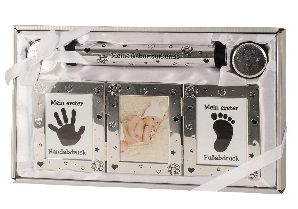 ` SILBER Baby Set Milchzahn- Haardose Fotorahmen Röhre