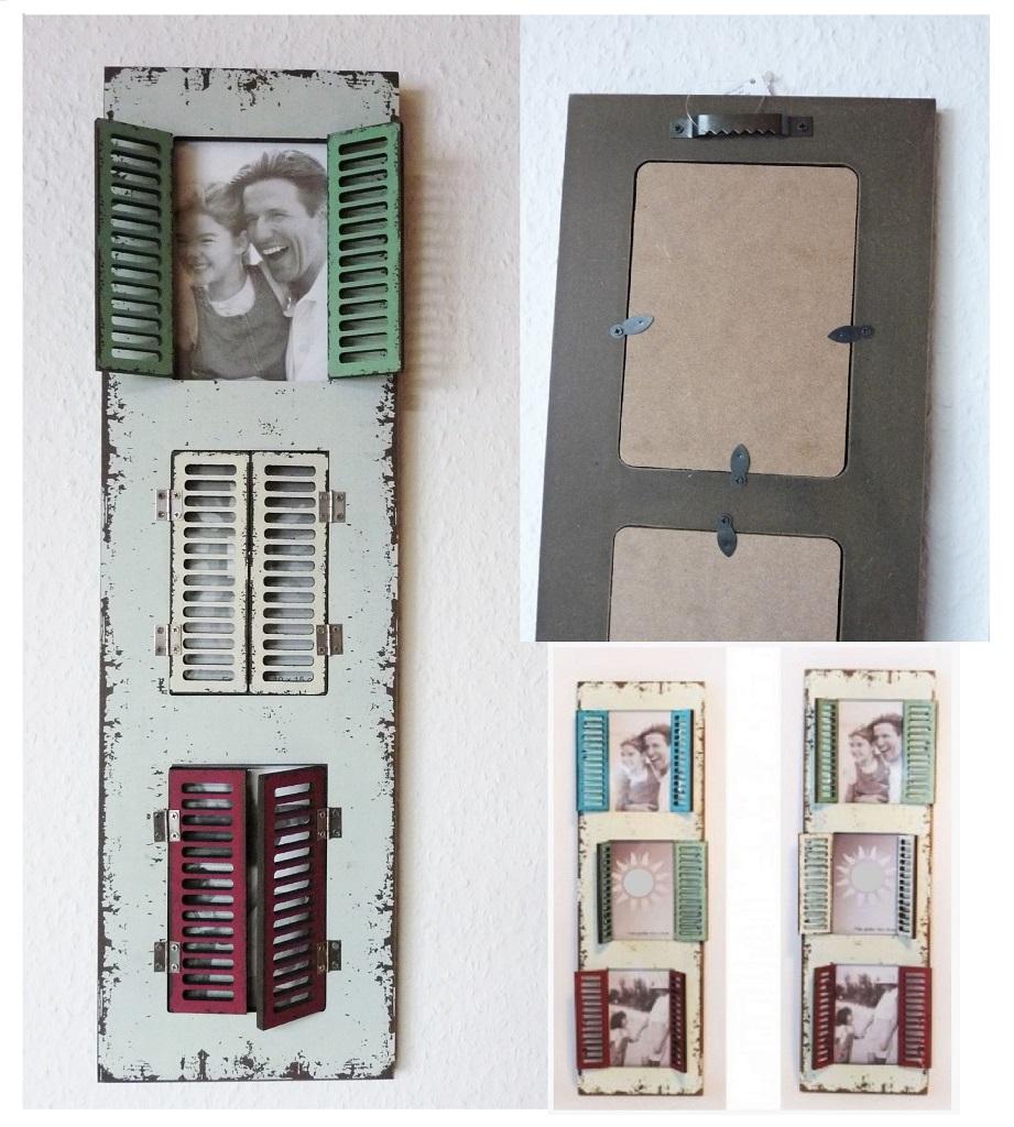 Bilderrahmen für 3 Bilder 10 x 15 cm mit farbigem Doppelladen bunte ...