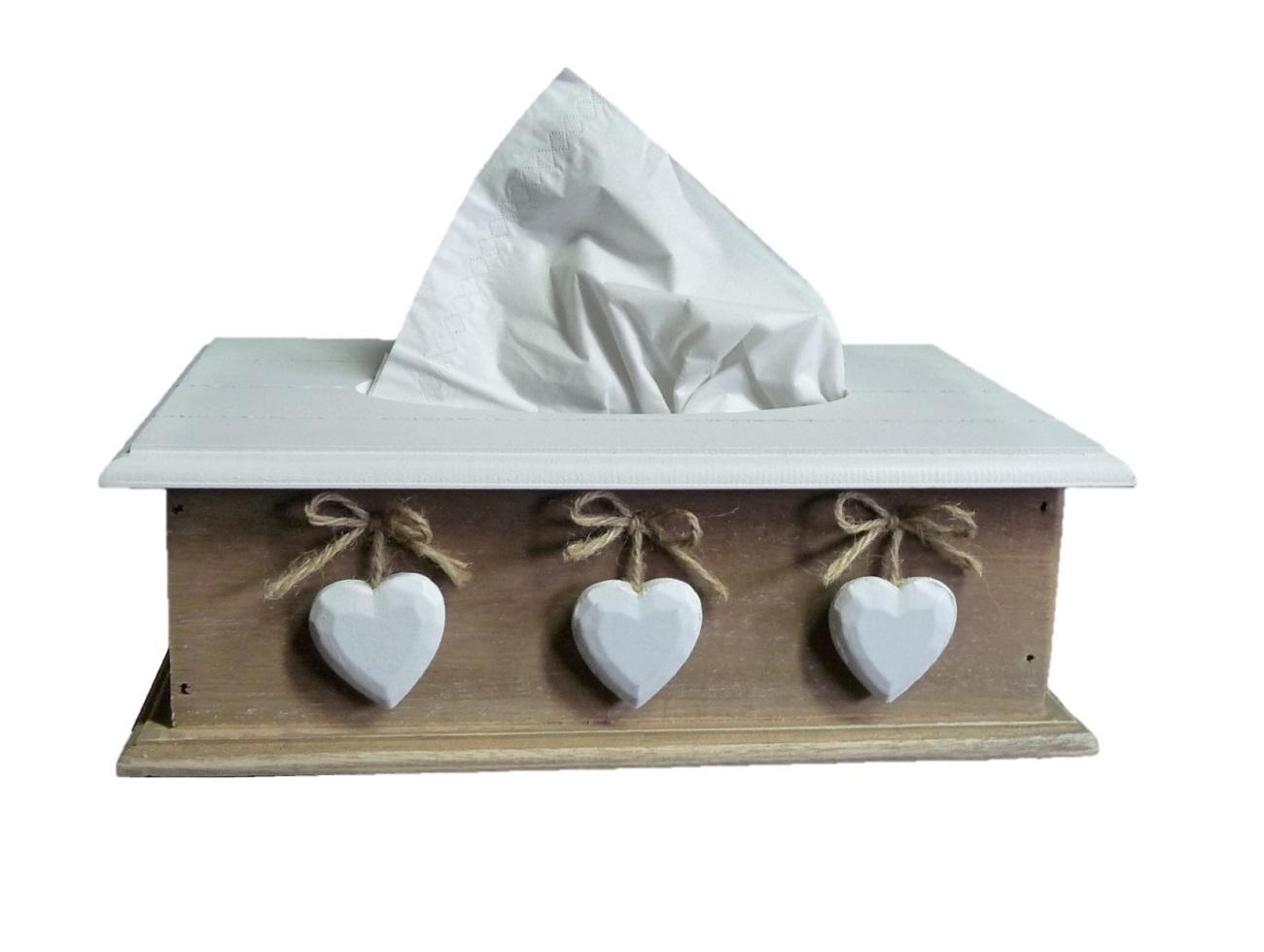 ; Landhaus Tissue Box 3 Herzen Kosmetiktücher-Box Holz 27 x 9 x 15cm