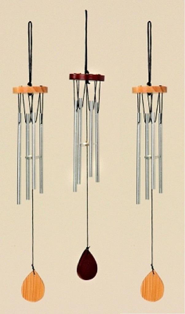 3 Stück Klangspiel 2x natur und 1x braun mit 4 Klangröhren 33cm Windspiel Mobile
