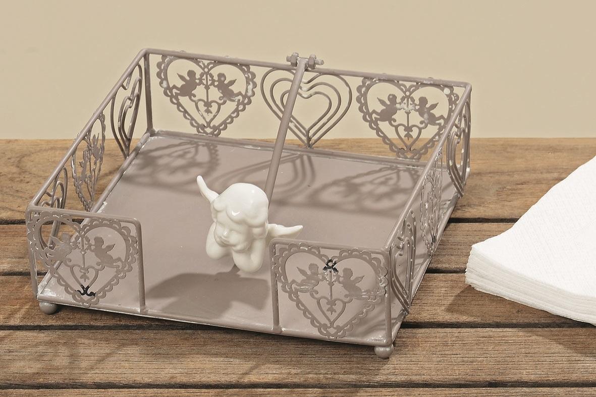 2 Stück Serviettenhalter 18 x 18 cm aus Eisen mit Herzen und Engelfigur
