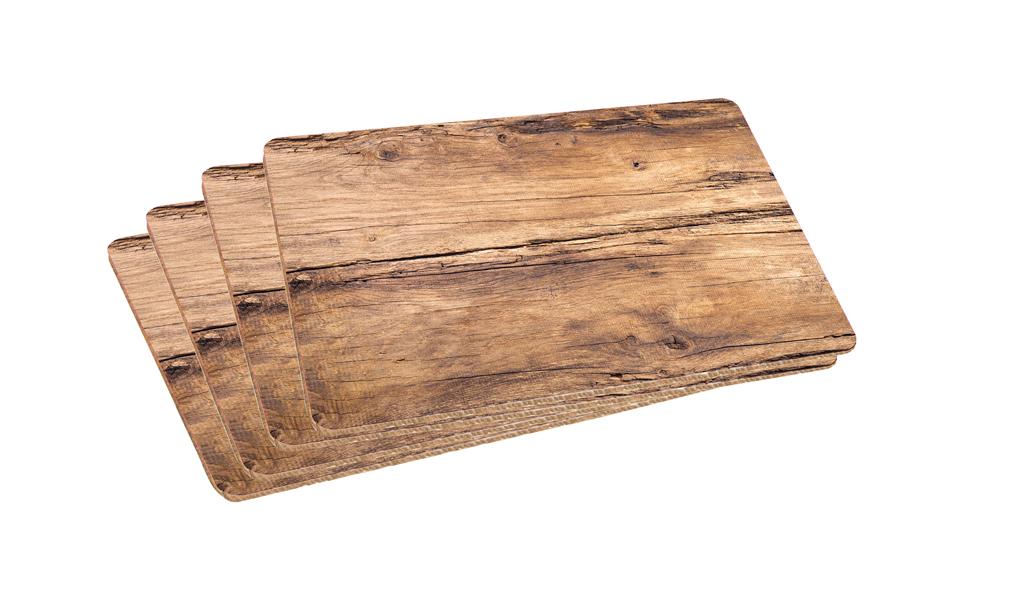 4 Stück Platzsets Platzmatte Eiche Kunststoff abwaschbar Platzdecke