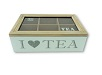 ; Teebox mit Glasdeckel 6 Fächer 23 x 7 x 15,6 cm I love tea