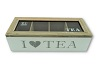 ; Teebox mit Glasdeckel 4 Fächer 26,6 x 7 x 11 cm I love tea