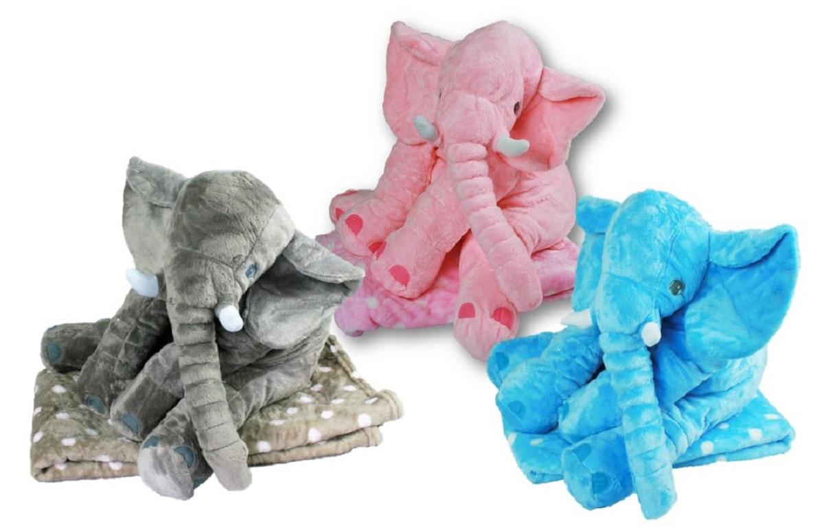 Elefant mit Decke 80 x 100 cm Rosa Kuscheltier Kissen 45 cm mit Kuscheldecke