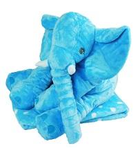 _  BLAU Elefant mit Decke Kuscheltier mit Kuscheldecke gepunktet