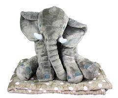 _  GRAU Elefant mit Decke Kuscheltier mit Kuscheldecke gepunktet