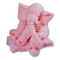 _  ROSA Elefant mit Decke Kuscheltier mit Kuscheldecke gepunktet