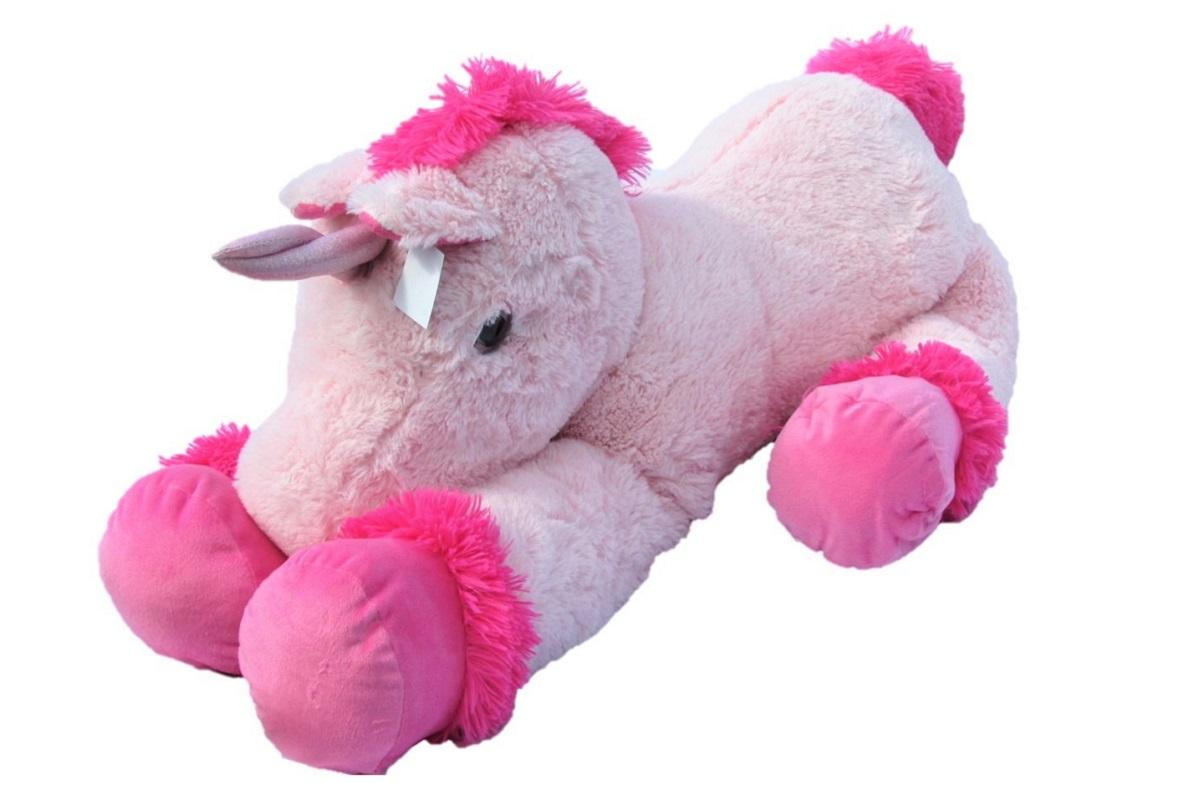 rosa xxl einhorn pl schtier rosa 110 cm kuscheltier stofftier. Black Bedroom Furniture Sets. Home Design Ideas