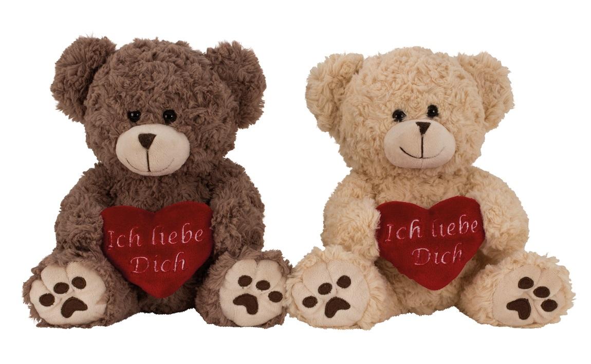 _  2 Stück Plüschtier Bär Braun Creme 25 cm Herz Ich liebe Dich Teddy