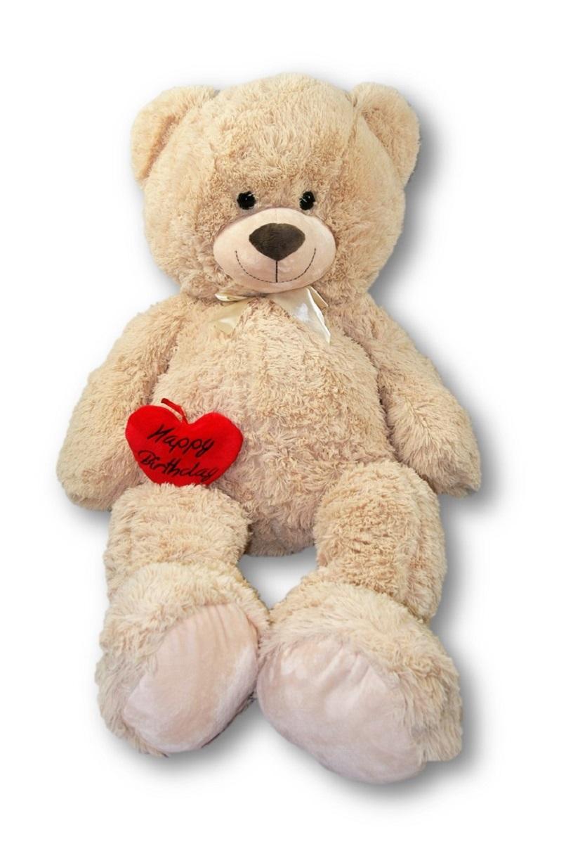 XXL Teddy Bär 100 cm mit Herzkissen Happy Birthday 10 x 13 cm ...