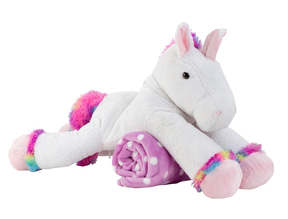 bianco 100 Peluche coperta Cm con Unicorno 63 Peluche 80 X 3ALRq54j