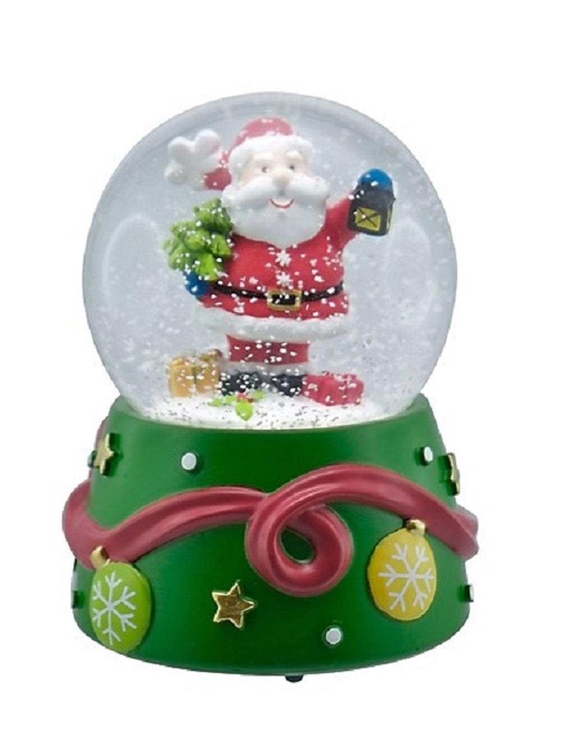 Spieluhr mit Schneekugel Ø 10cm x 15 cm Weihnachten Weihnachtsmann ...