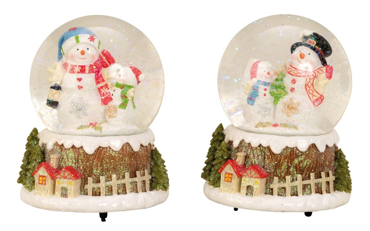 Große Spieluhr Schneekugel Ø 11 cm Schneemann Spieldose Weihnachten ...