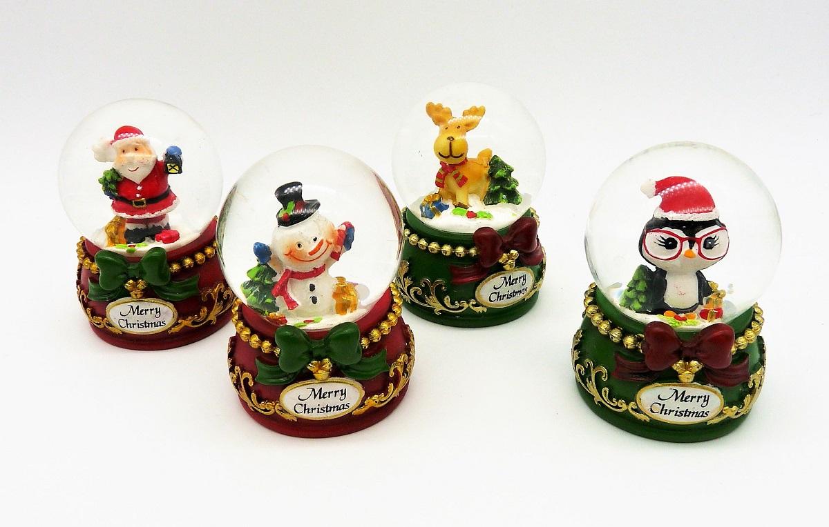 4 er Set Schneekugel Elch Pinguin Schneemann Weihnachtsmann je 7 cm ...