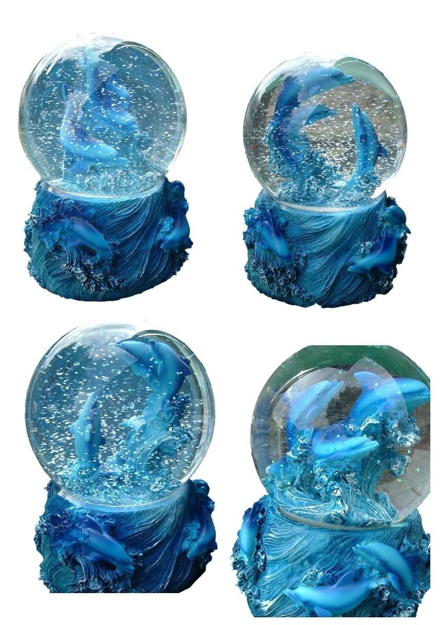 Details zu Grosse Delfin Schneekugel Delphin Glimmerkugel 14cm 4 Motive möglich