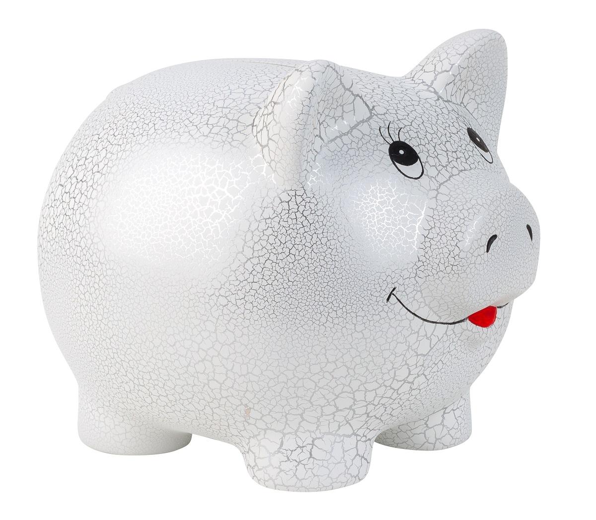 Riesen großes Spraschwein in Weiß Silber