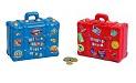´ Spardose Reisekoffer in Blau und Rot Keramik 14 cm x 13 cm Urlaubskasse