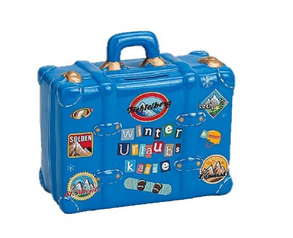 ´ Spardose Reisekoffer in Blau Keramik 14 cm x 13 cm Urlaubskasse
