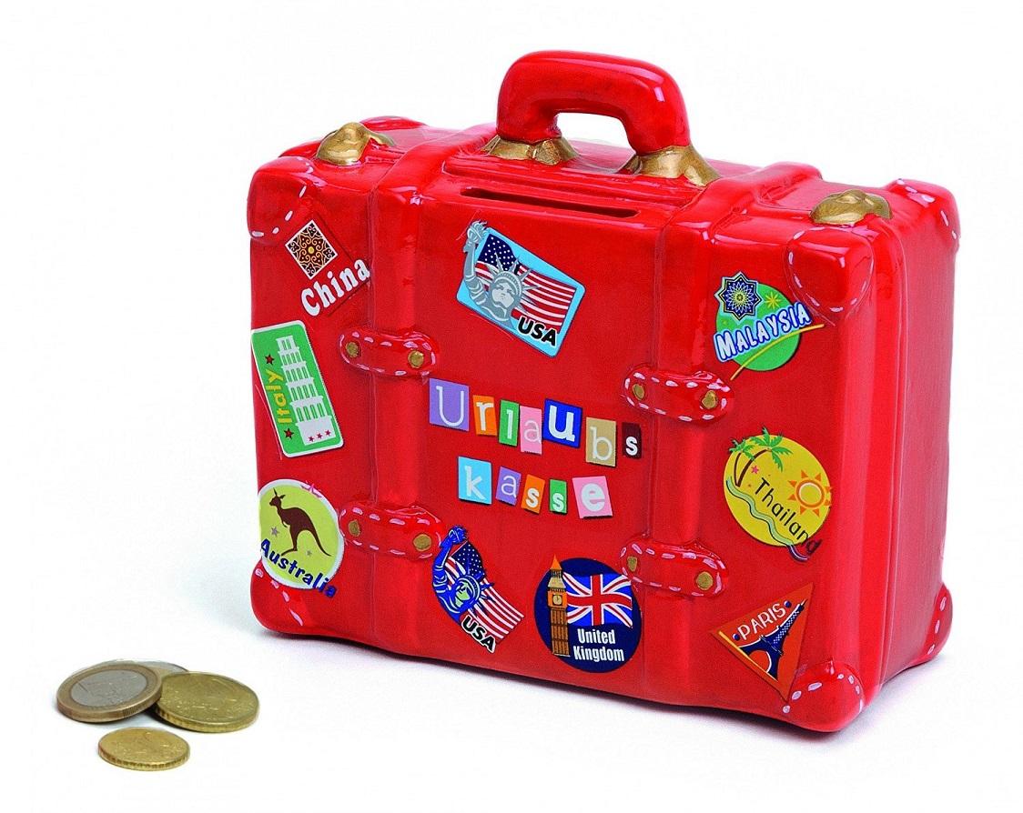´ Spardose Reisekoffer Rot Keramik 14 cm x 13 cm Sparbüchse Urlaubskasse