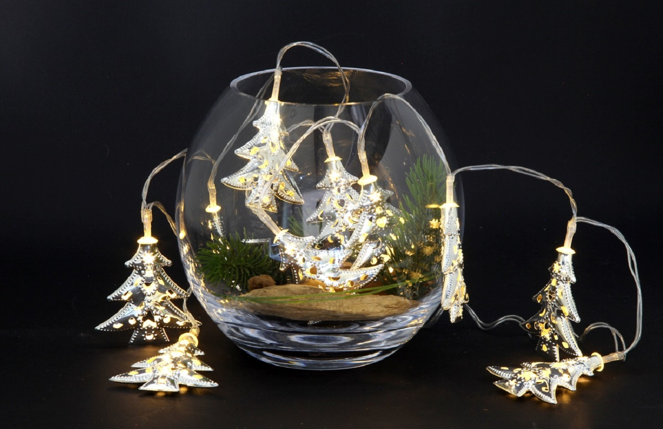 Metall LED Lichterkette silberne Tannenbäume 10 LEDs innen warmweiß 102703