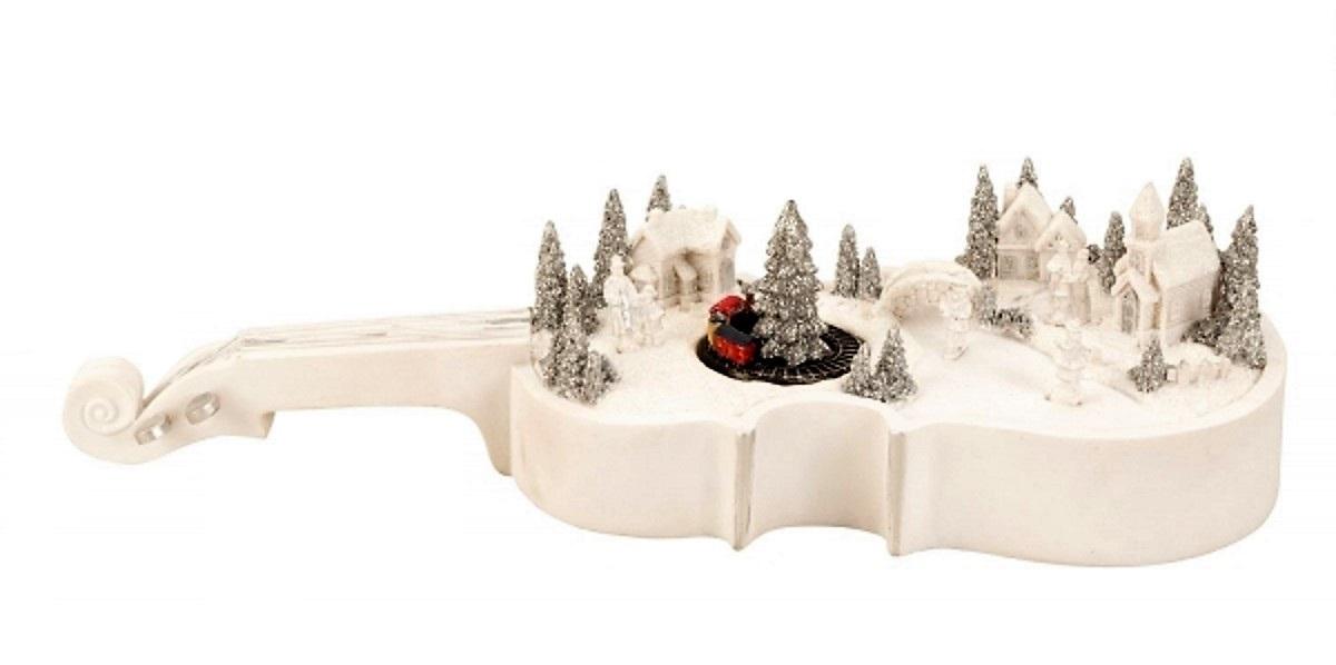 Led geige winterlandschaft 39 cm x 10 cm batteriebetrieben - Winterlandschaft dekoration ...
