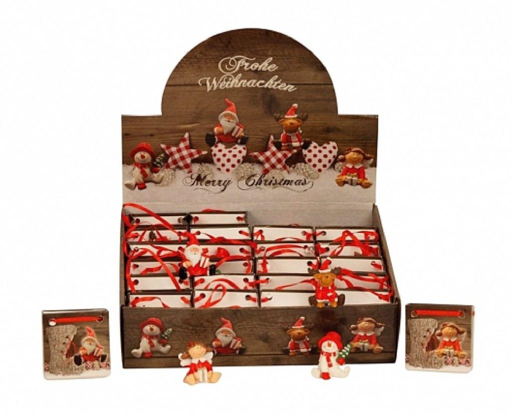.. 24 Stück X-Mas Figuren im Display in Geschenktüte Weihnachtsmotive