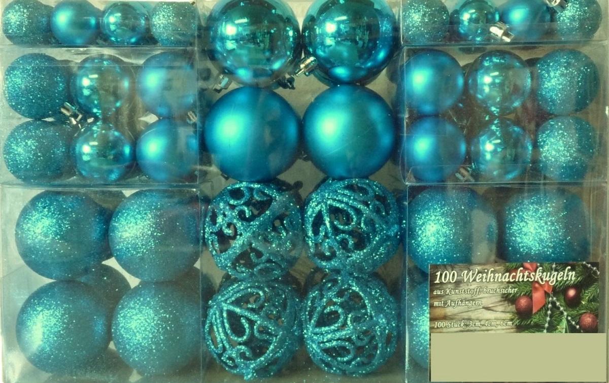 Christbaumkugeln Türkis Kunststoff.Metallhaken Türkis 100 Weihnachtskugeln Verschiedene Größen Weihnachten