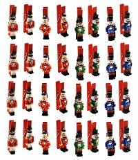.. 32 Dekoklammern Nussknacker mit Klammer 4,5 cm Weihnachten
