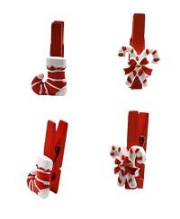 .. 32 Dekoklammern Zuckerstange und Stiefel mit Klammer Weihnachten