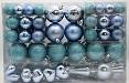 .., 101 BLAU Weihnachtskugeln Eisblau mit Spitze und Metallhaken