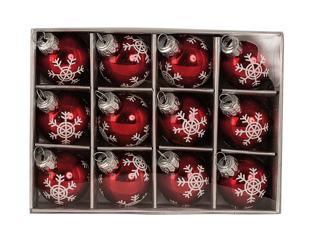 12 st ck weihnachtskugeln 3 cm rot glas kugeln christbaumschmuck schneeflocke ebay. Black Bedroom Furniture Sets. Home Design Ideas