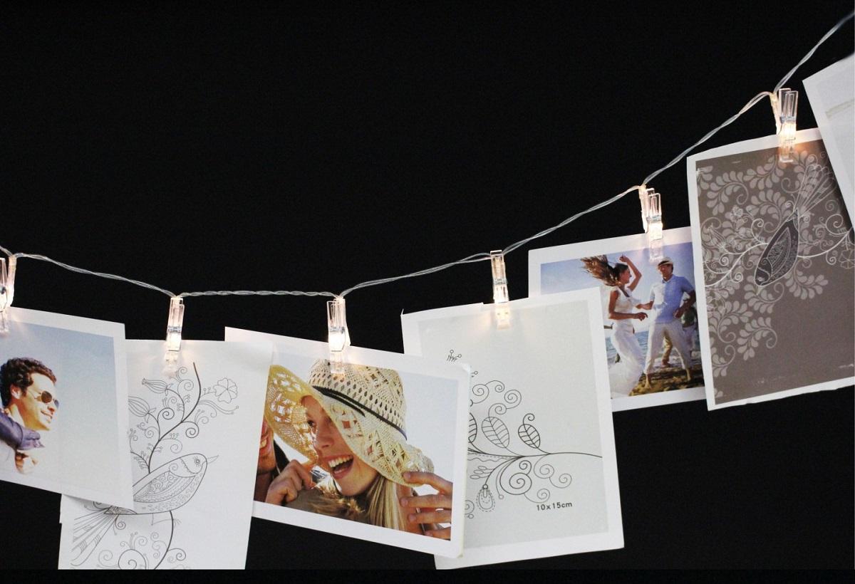 led lichterkette foto klammer mit 12 leds lichtgirlande 1 40 m wanddeko ebay. Black Bedroom Furniture Sets. Home Design Ideas