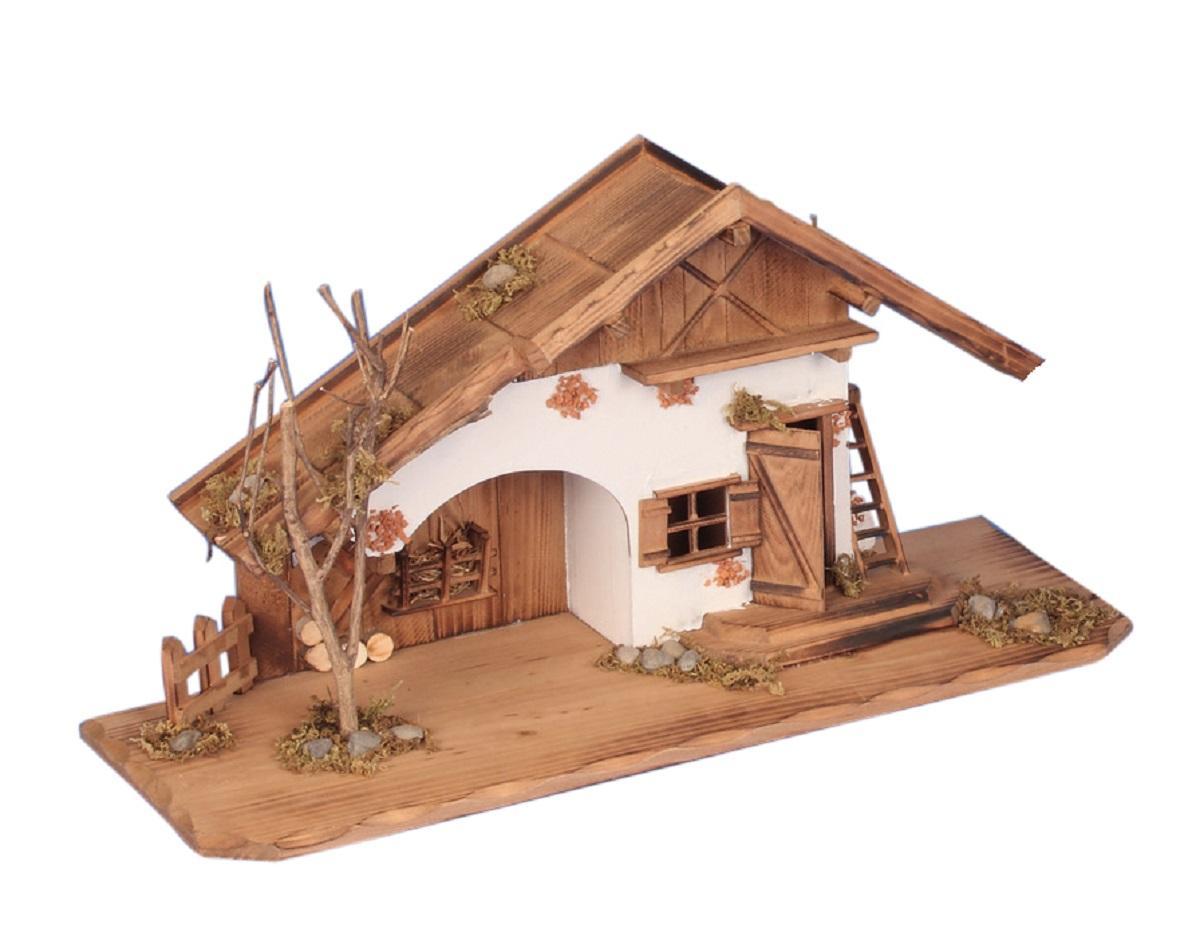 Holzhaus 55 cm haus holz krippe landhaus modell holzhaus for Modellhaus bauen