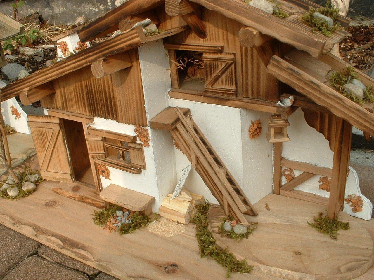 2 x Haus 75 cm und 27 cm + 6 teiliges Zubehör Holz Stall Holzhaus ...