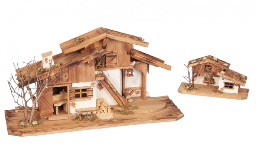 .. 2x Haus 75cm und 27cm Holzhaus Stall Krippe