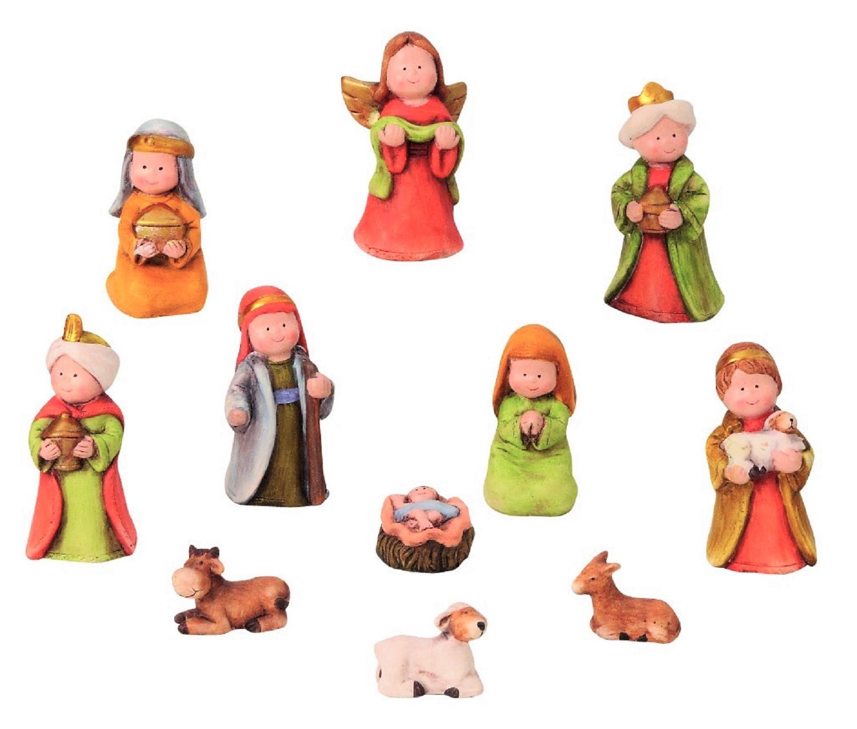 .. Krippenfiguren Set 11 teilig Krippe mit Kindergesicht Weihnachten