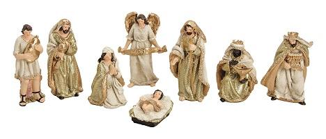 .. Krippenfiguren 8 teiliges Set Krippe Weihnachten Gold