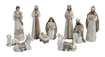 .. Krippenfiguren 10 teiliges Set Krippe Weihnachten Glitzer